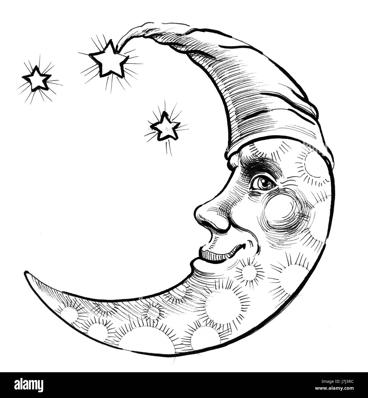 Half Crescent Moon With Face Tattoo: Moon Face And Stars Stock Photo: 142383680