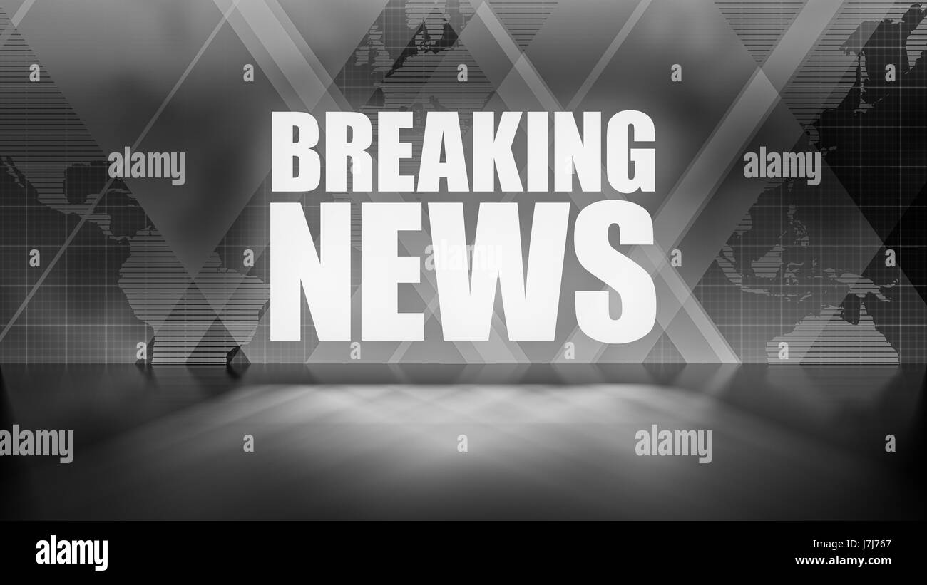 Breaking news background in black and white rectangles and world breaking news background in black and white rectangles and world map overlapping with reflective floor gumiabroncs Images