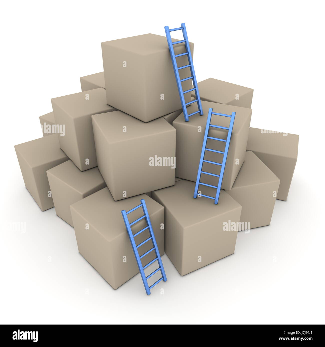 blue stack box boxes ladder heap pile bricks cubes cardboard carton blue stairs - Stock Image
