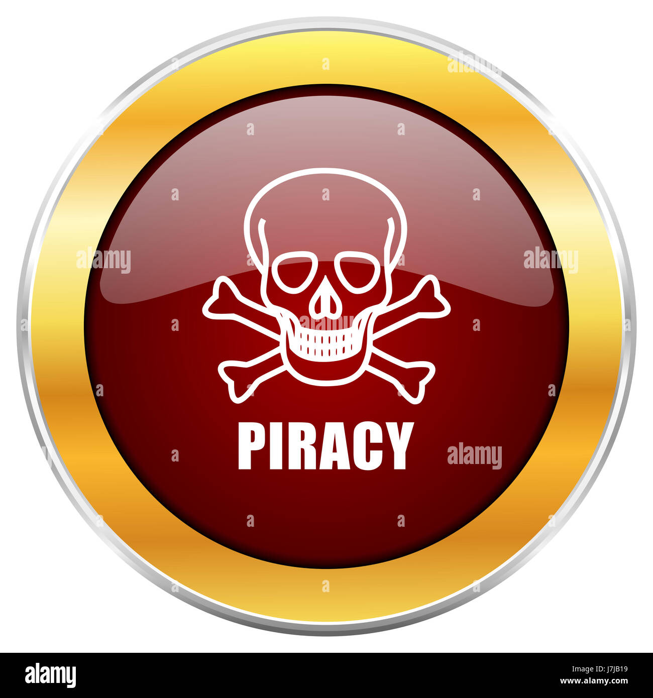 Piracy skull red web icon with golden border isolated on white background. Round glossy button. Stock Photo