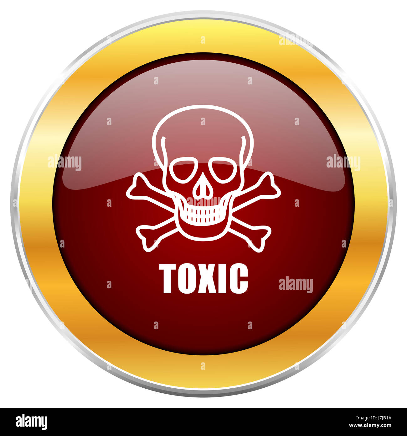 Toxic skull red web icon with golden border isolated on white background. Round glossy button. Stock Photo