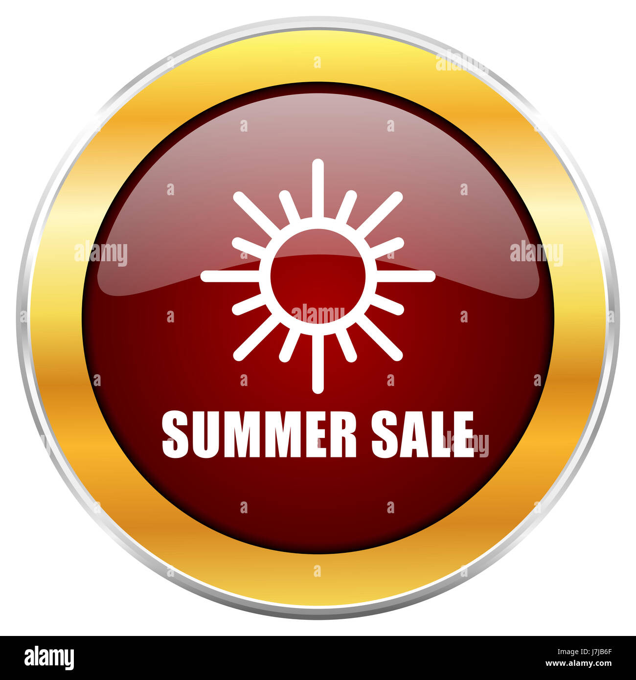 Summer sale red web icon with golden border isolated on white background. Round glossy button. - Stock Image