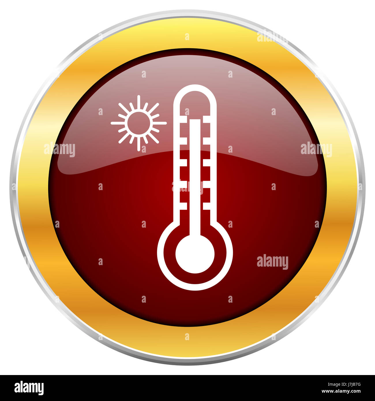 Hot temperature red web icon with golden border isolated on white background. Round glossy button. - Stock Image