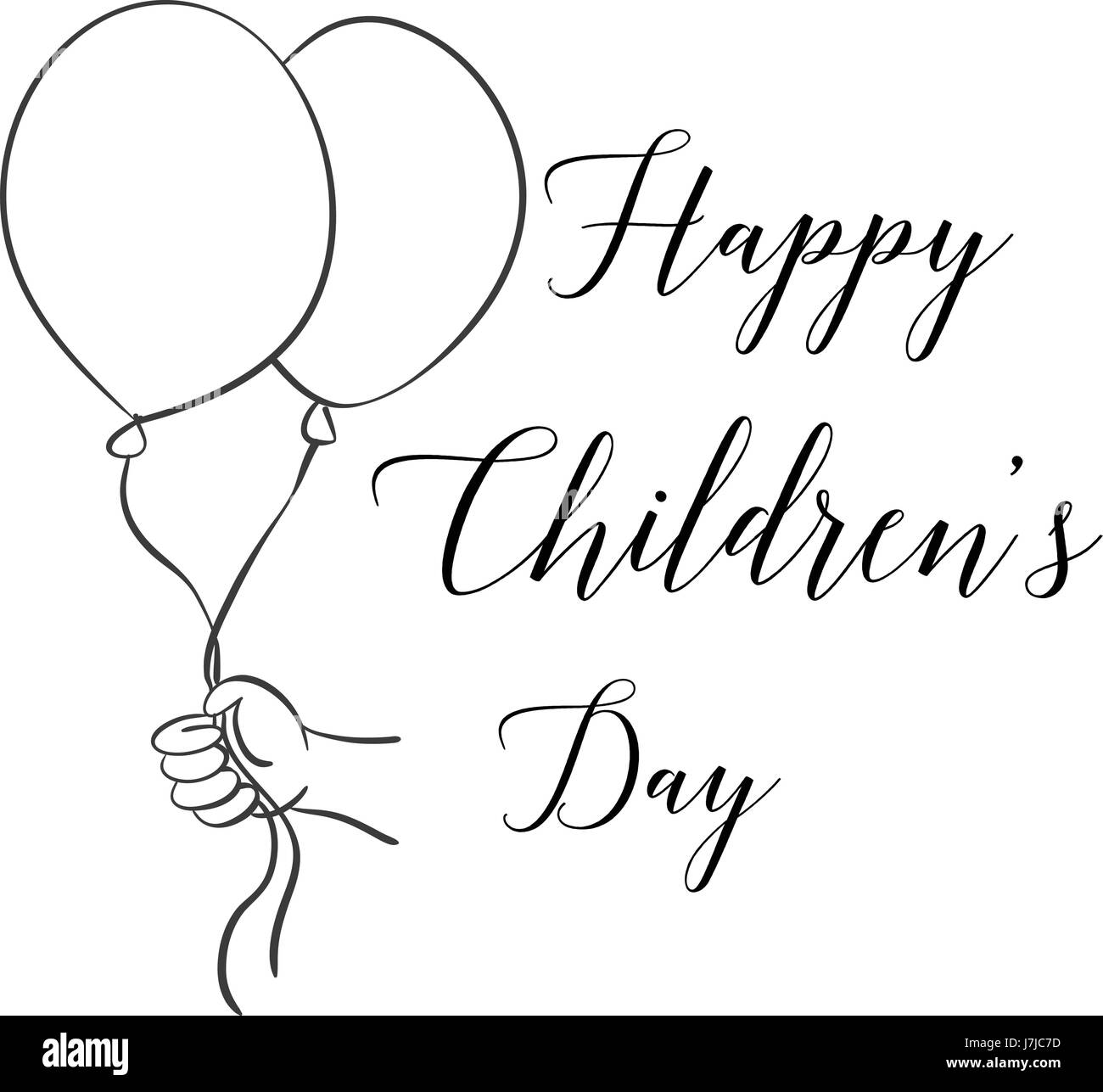 Childrens Day With Balloon Hand Draw Stock Vector Art Illustration
