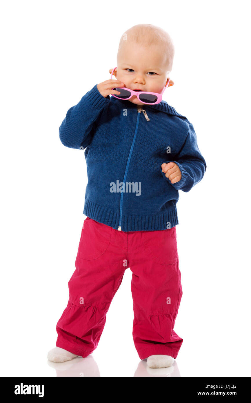 9ef91c676a0 Funny toddler wearing sunglasses isolated on white Stock Photo ...