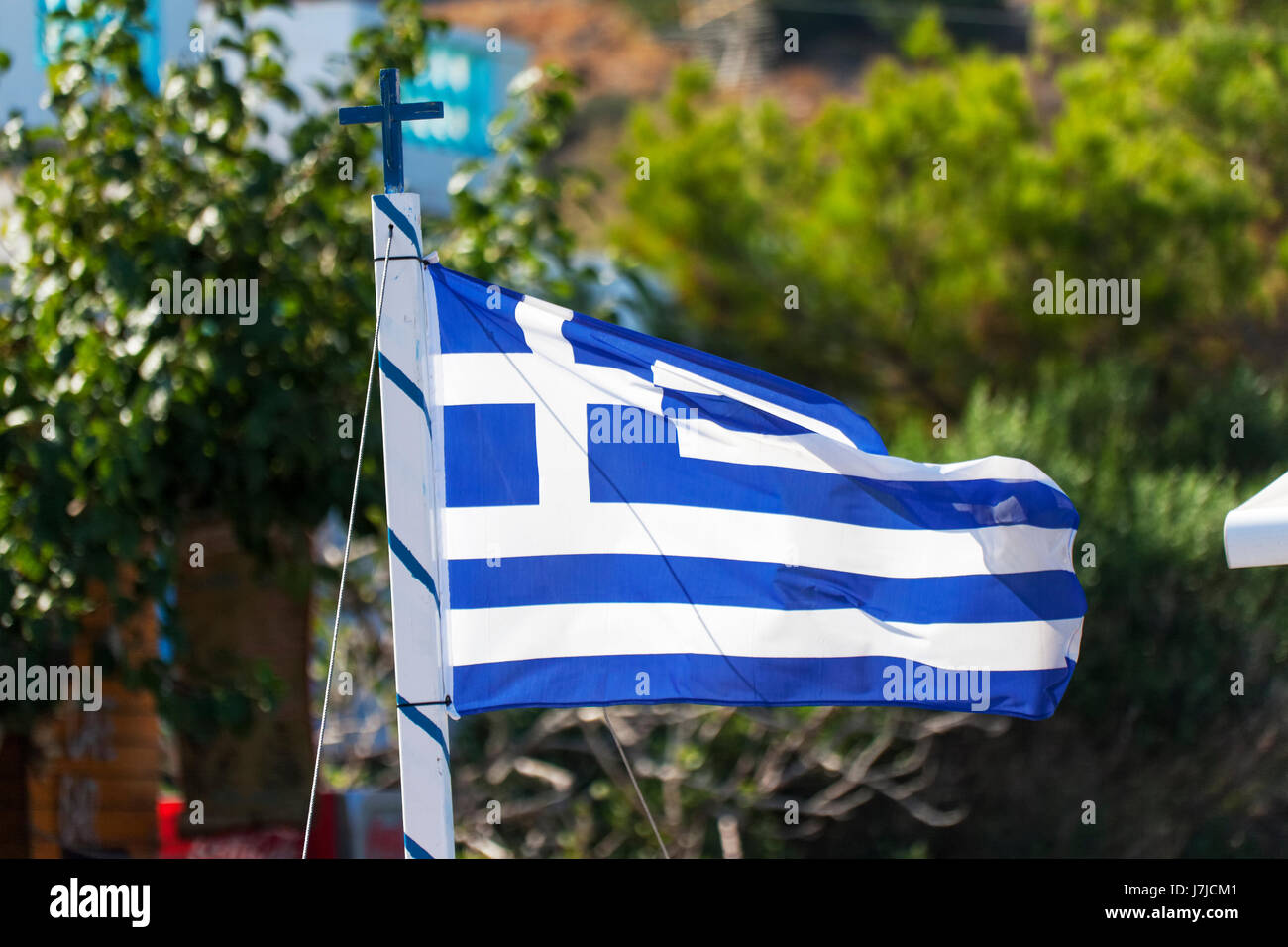Greek flags, waving in the wind, Crete, Greece, Europe - Stock Image