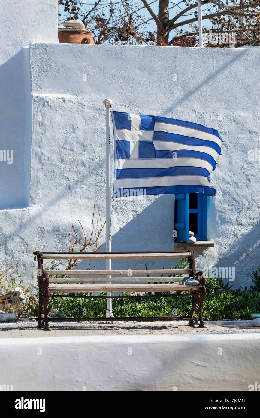 Greek flag, waving in the wind, Crete, Greece, Europe - Stock Image