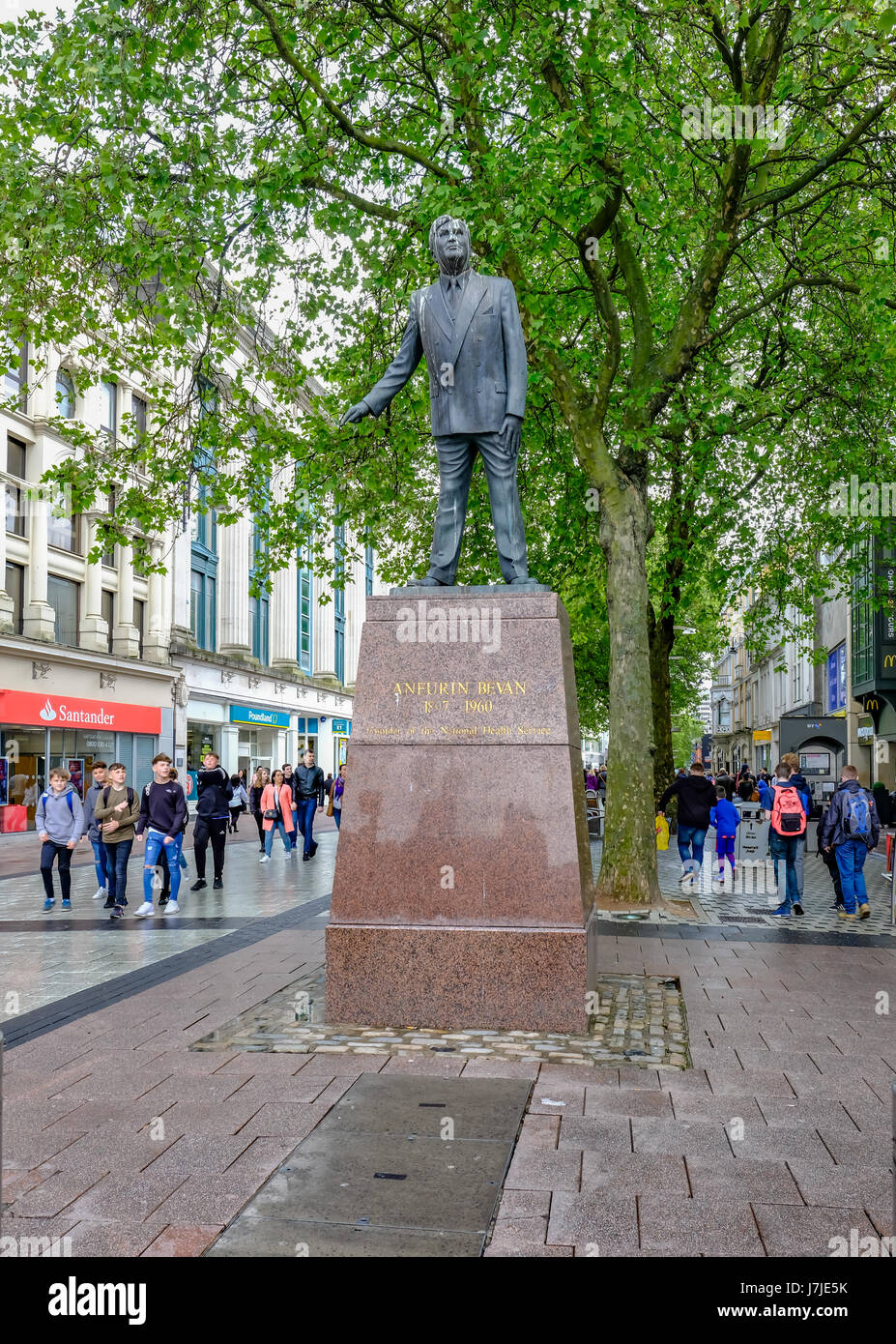 Cardiff, Wales - May 20, 2017: Statue of Nye  Bevan, Founder of the National Health, NHS - Stock Image