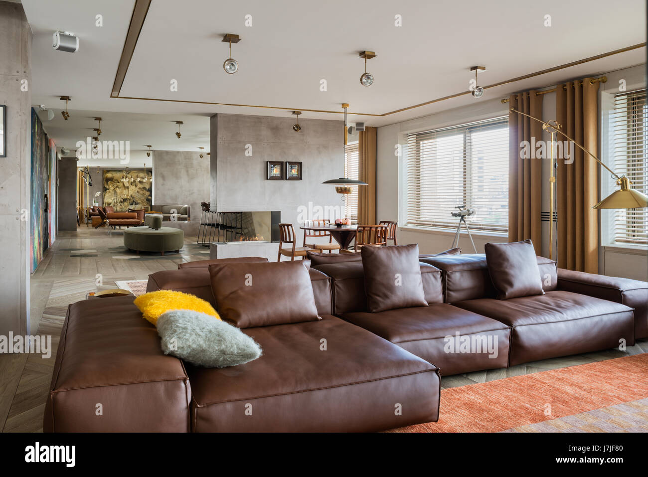 Istanbul apartment Informal seating and dining area in 30 meter living space - Stock Image