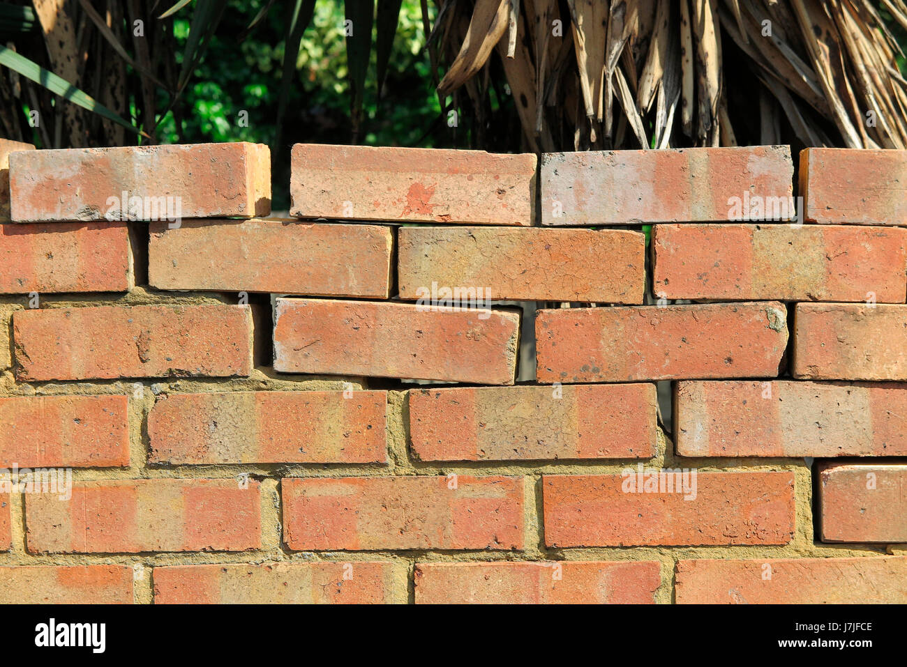 A brick wall made without cement / mortar between all the bricks. The wall may have been damaged or fallen over - Stock Image