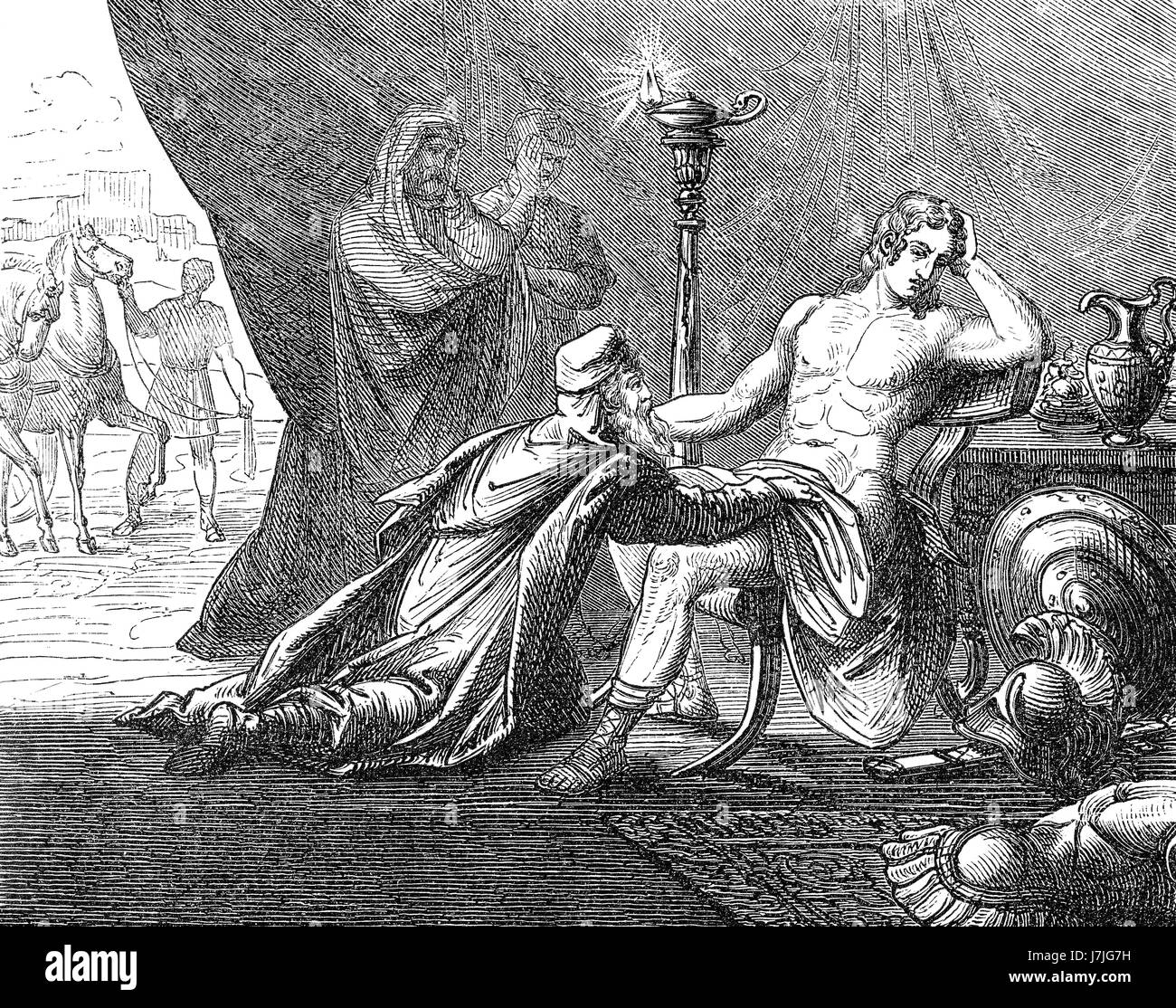 Priam asking Achilles about the corpse of his son Hektor, Trojan War Stock Photo