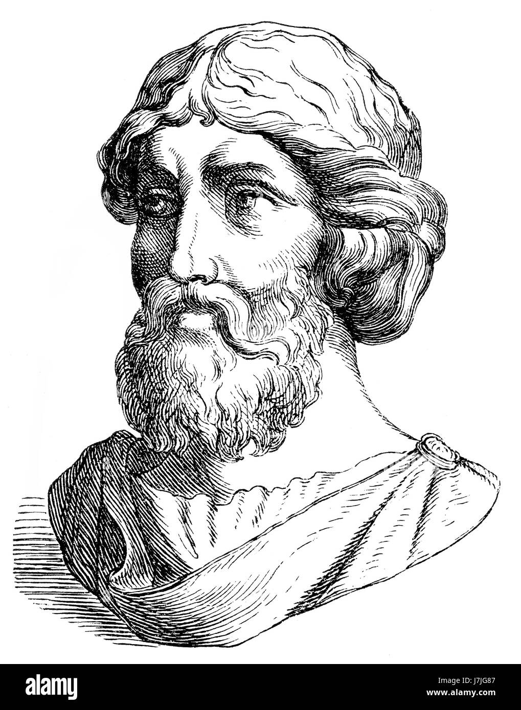 Pythagoras of Samos, an Ionian Greek philosopher, mathematician - Stock Image