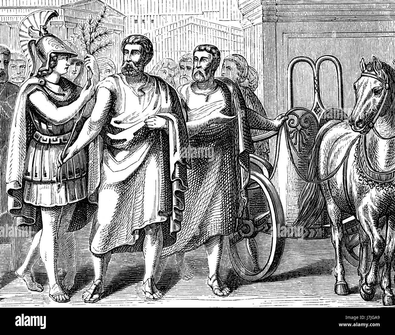 The returning of Cimon or Kimon, c.510-450 BC, an Athenian statesman and general in Ancient Greece - Stock Image