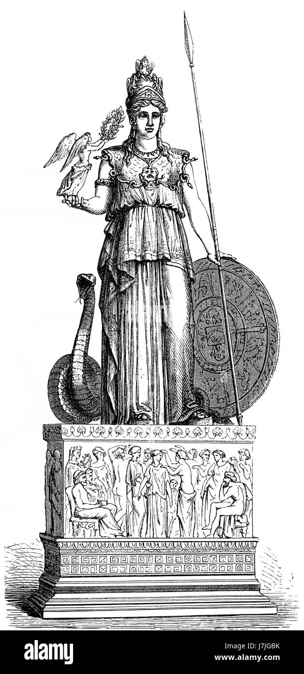 Statue of the goddess Pallas, ancient Greek religion - Stock Image