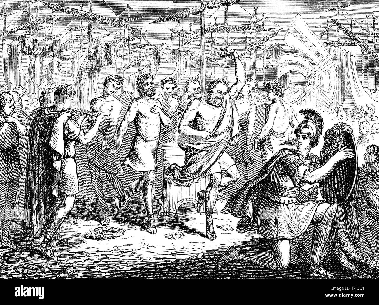 Aeschylus and Sophokles, dancing after the the Battle of Salamis in 480 BC - Stock Image
