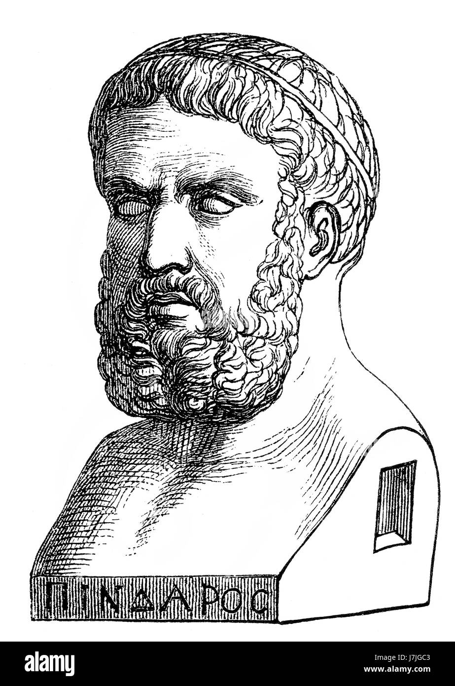 Pindar, c. 522-443 BC, an Ancient Greek lyric poet from Thebes - Stock Image