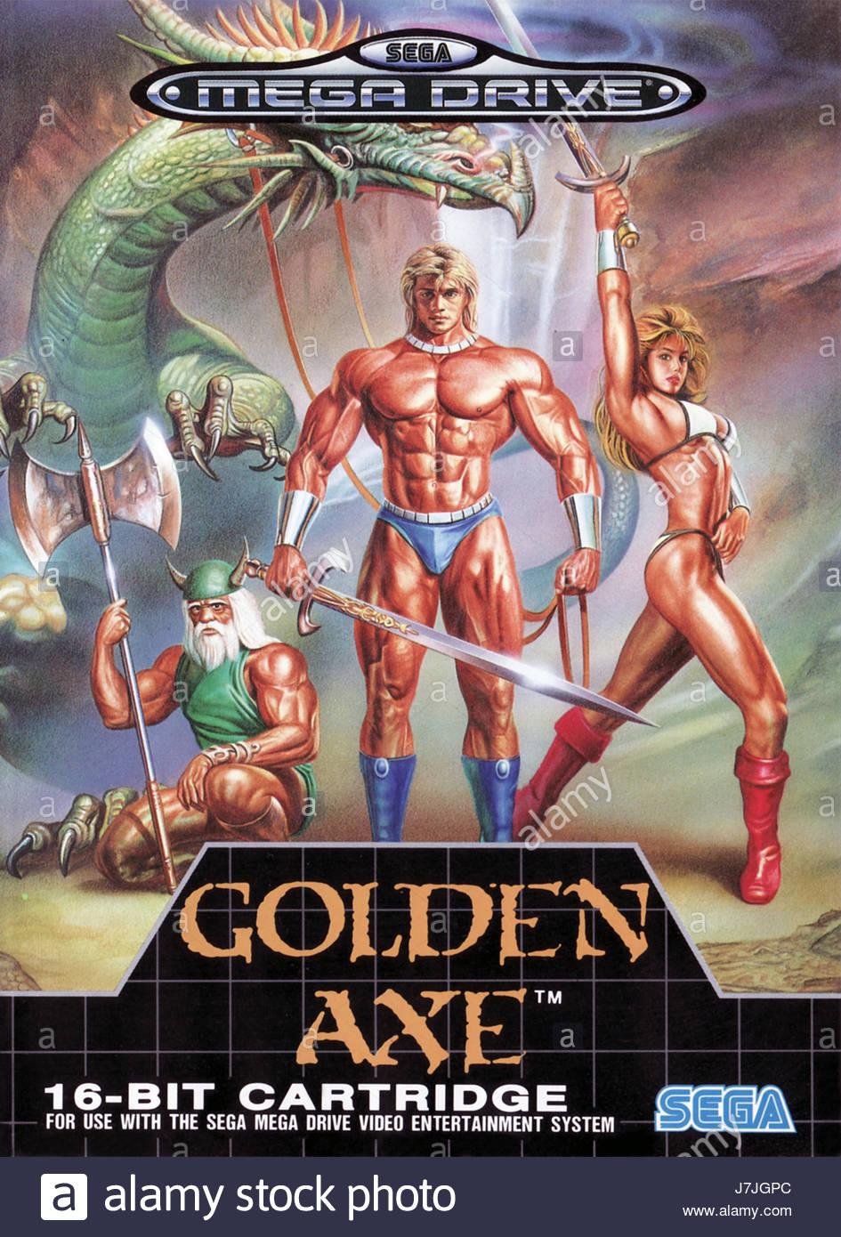 Golden Axe on Sega Genesis original box art photograph Stock