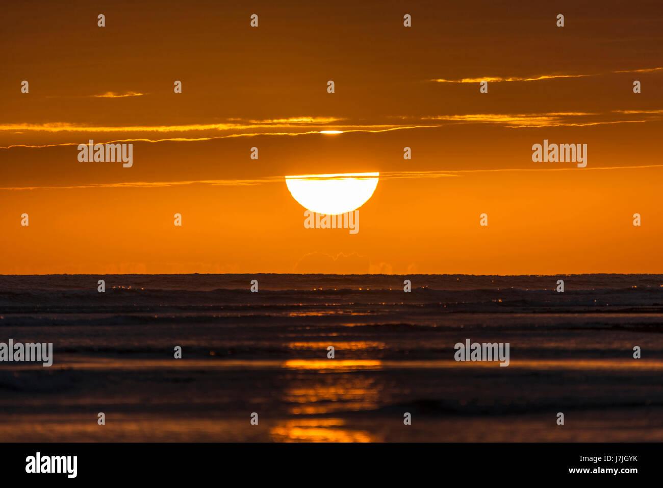 Sunset at Ocean, Jardines de la Reina, Cuba Stock Photo
