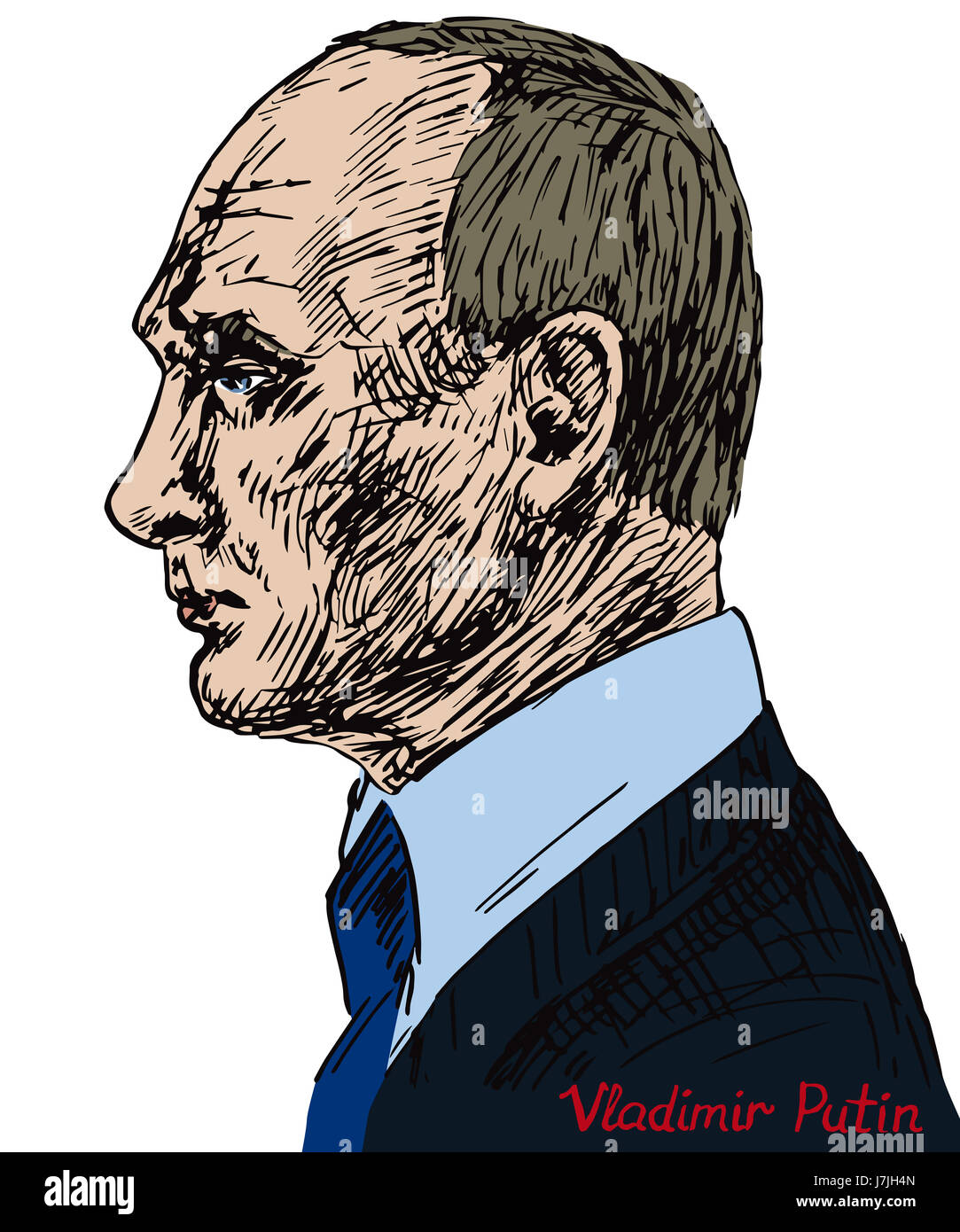 Vladimir Vladimirovich Putin, Russian politician, President of the Russian Federation,  drawn by hand illustration, - Stock Image