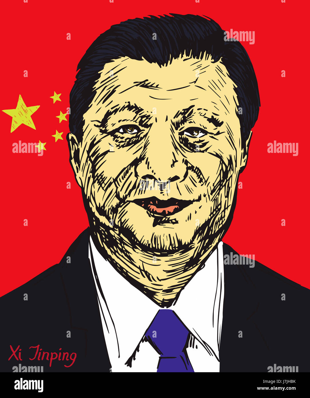 Xi Jinping, General Secretary of Communist Party of China, President of the People's Republic of China, flag - Stock Image