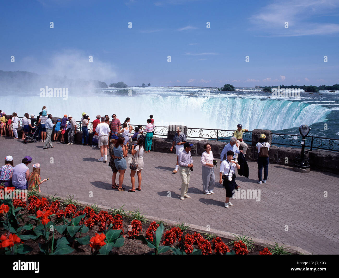Tourists viewing Niagara Falls Ontario Canada - Stock Image