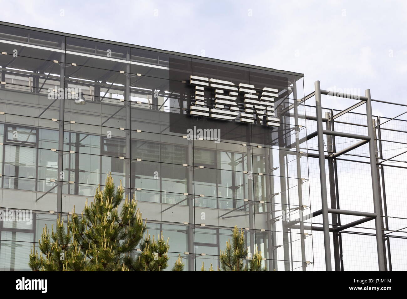 PRAGUE, CZECH REPUBLIC - MAY 22: IBM company logo on headquarters building on May 17, 2017 in Prague, Czech republic. - Stock Image