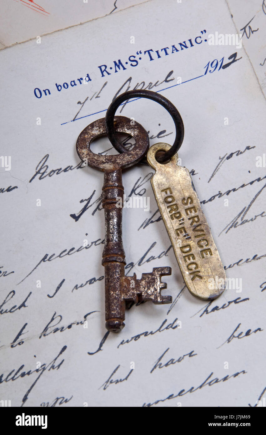 Titanic sale, 'E' deck 5 key that belonged to Edmund Stone, auctioned in 2009 - Stock Image