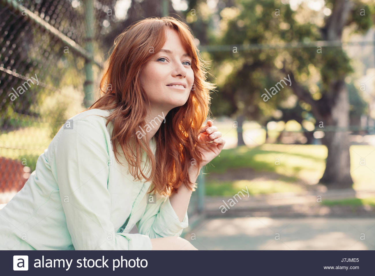 Join. redhead on bench you
