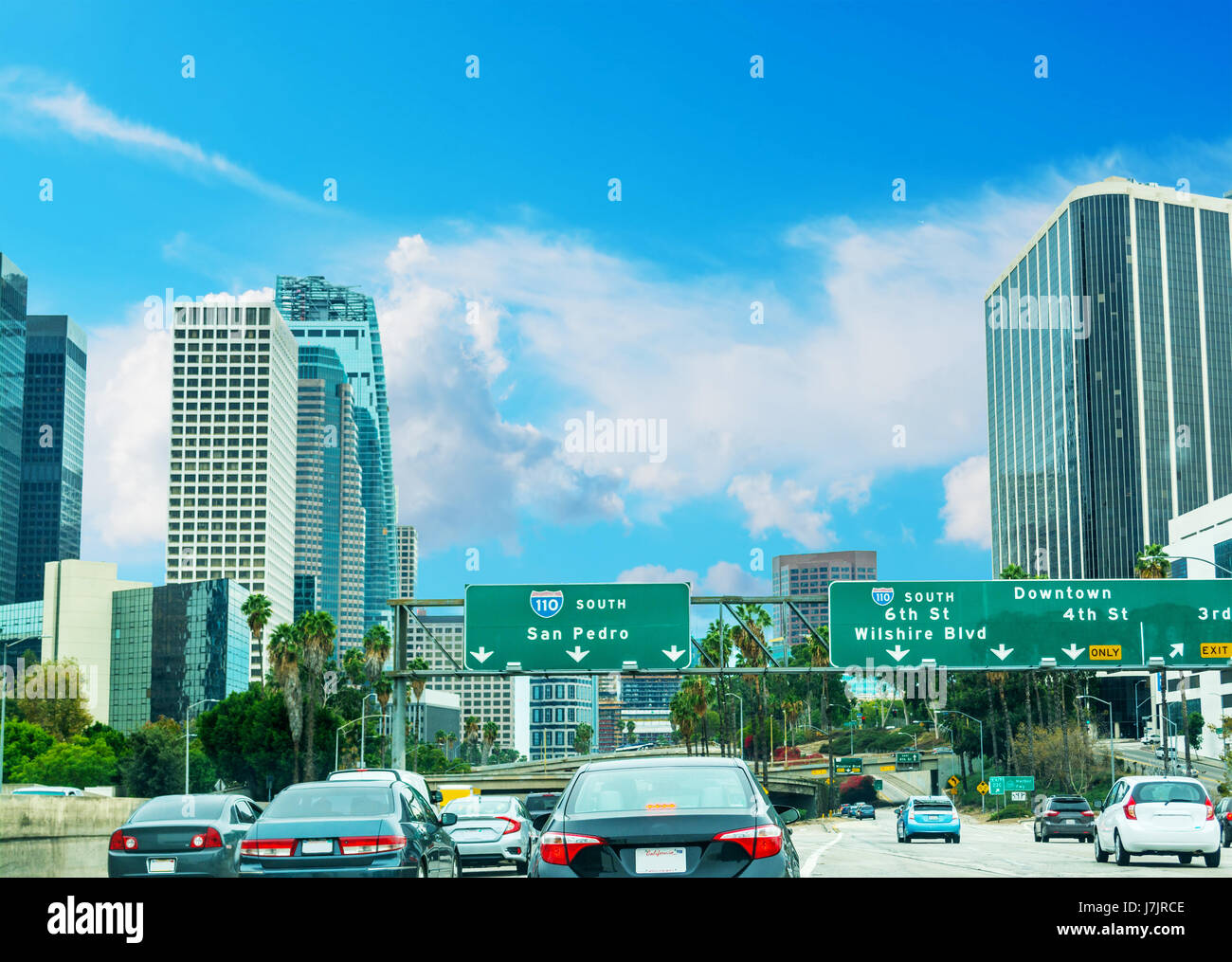 Traffic in 110 freeway in Los Angeles, California Stock