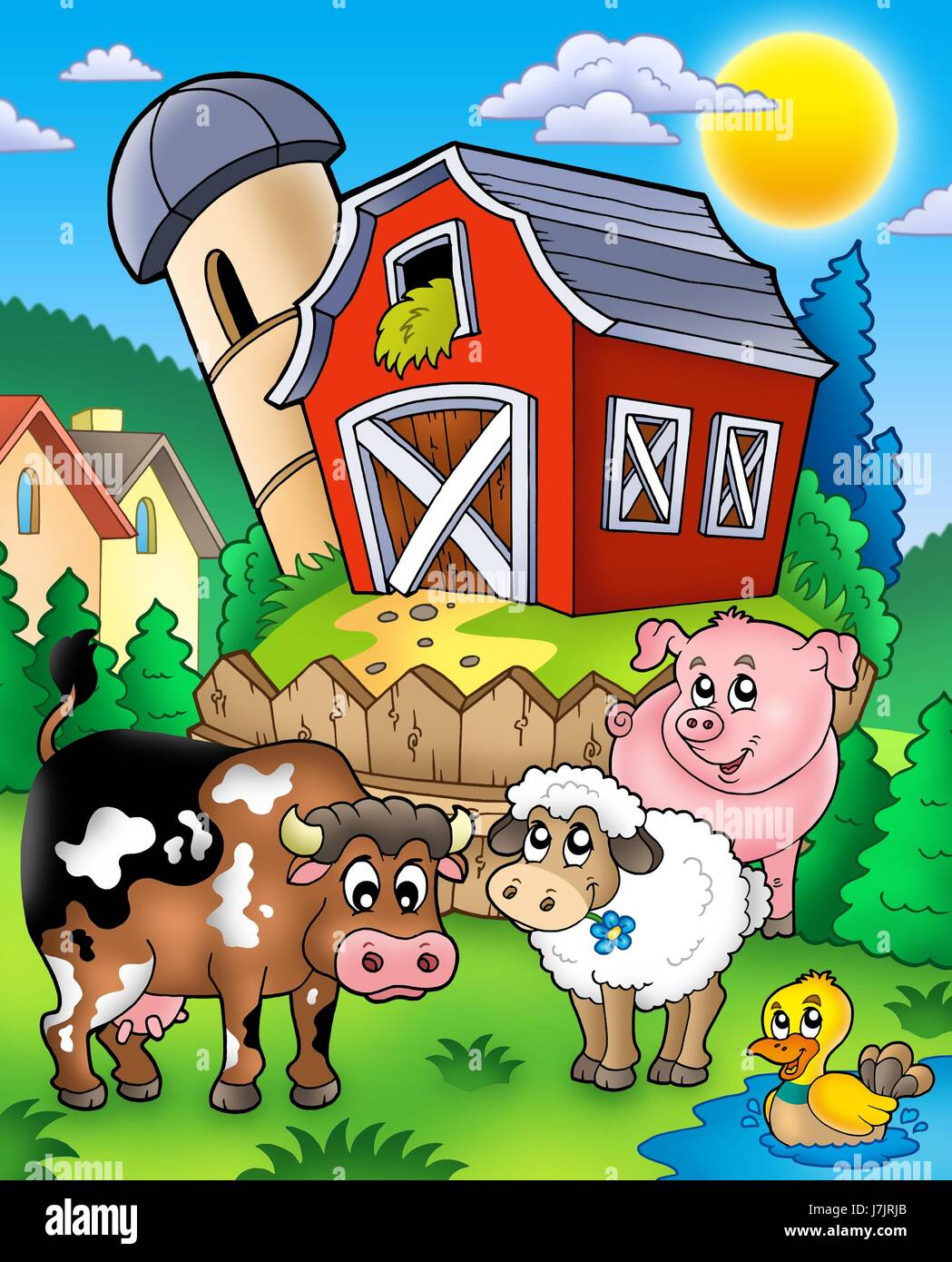 Animal Mammal Bird Sheep Duck Cow Barn Pig House Building Tower Agricultural