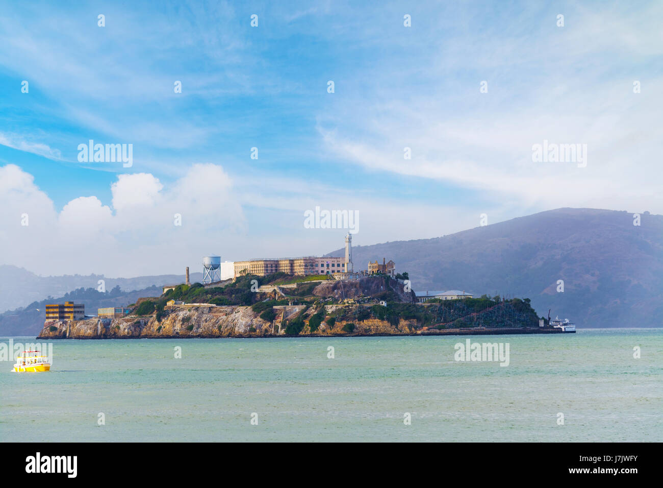 clouds over Alcatraz island - Stock Image