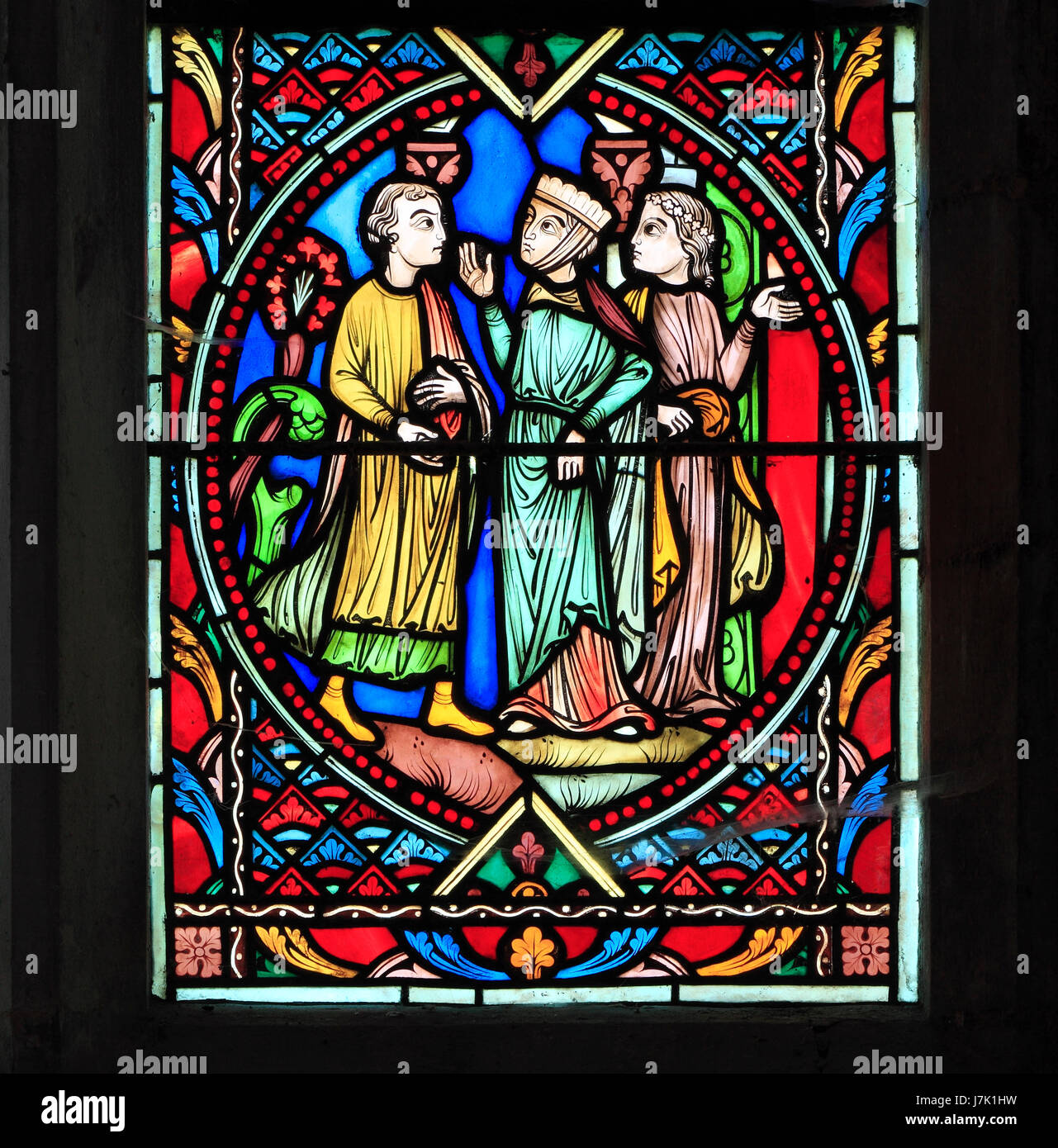 Parable of The Prodigal Son, by Didron of Paris, 1859.  Stained glass window, Feltwell Church, Norfolk, England, - Stock Image