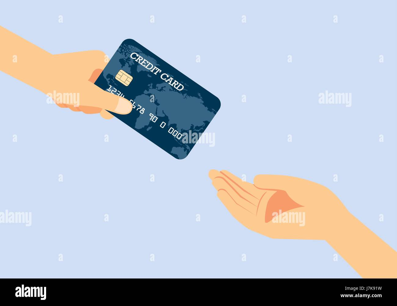 Hand giving a credit card to other hand. Illustration about quickly payment. Stock Vector