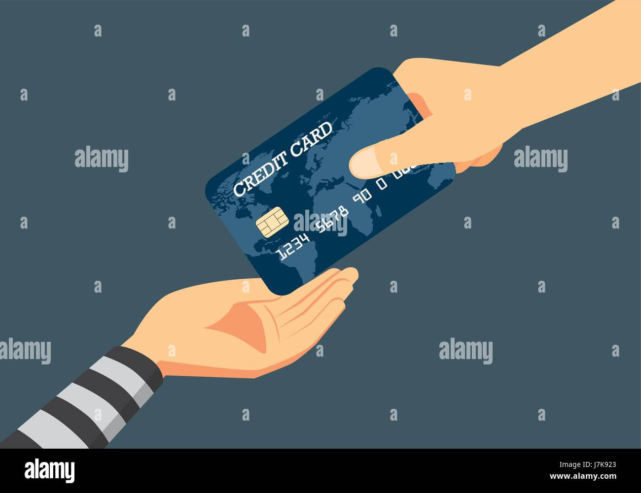 Hand of victim giving a credit card to robber. Illustration about fraud to identity theft when payment. - Stock Vector