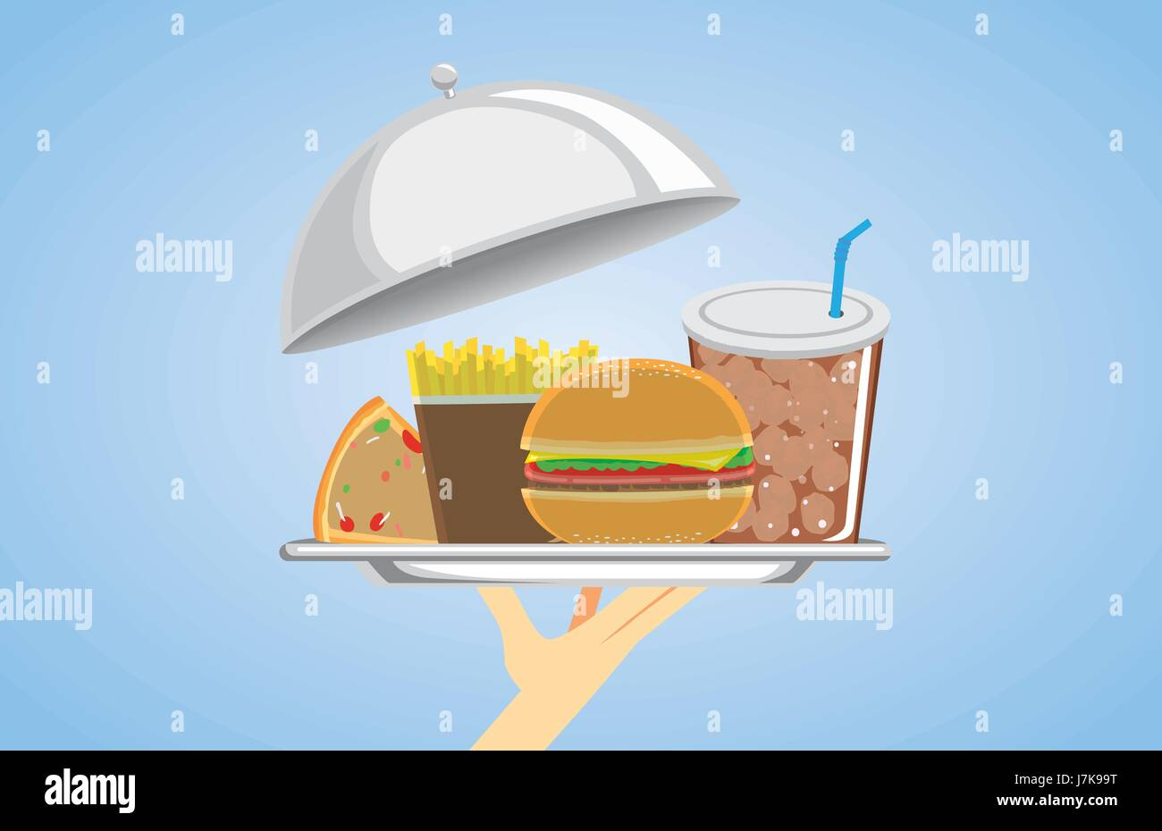Hand holding a set of fast food in silver dish. Illustration about American food. - Stock Vector