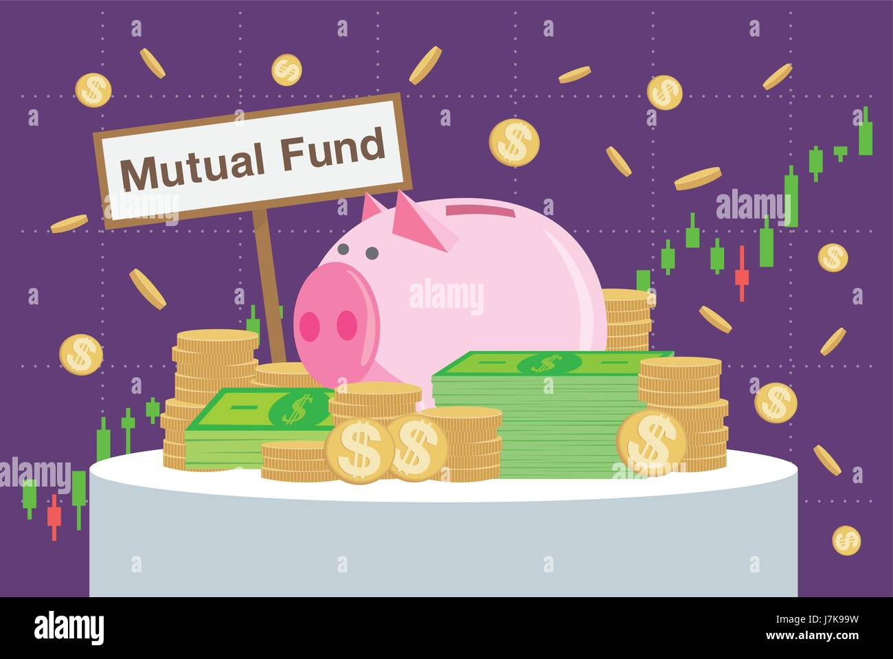 Wooden sign writing Mutual funds back many money and piggy bank on price chart background. - Stock Image