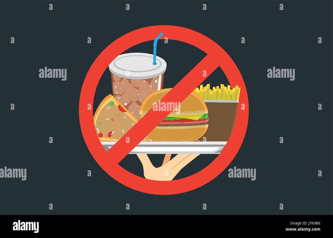 Hand holding fast food in silver dish with stop signal. - Stock Vector