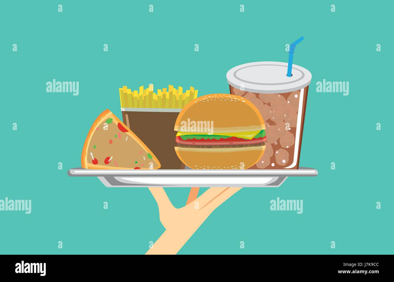 Hand holding a set of fast food in silver dish. Illustration about meal. - Stock Vector