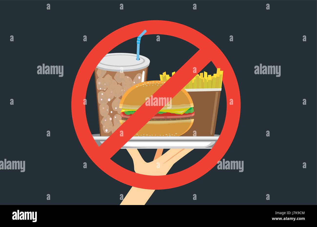 Hand holding fast food in silver dish with stop signal. Illustration about eating with wrong. - Stock Vector