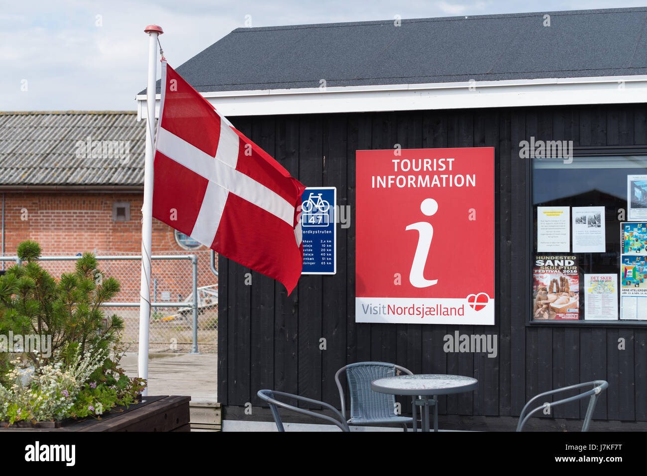 HUNDESTED, DENMARK - AUGUST 8, 2016: Tourist information office in Hundested, a small tourist village in the northern - Stock Image