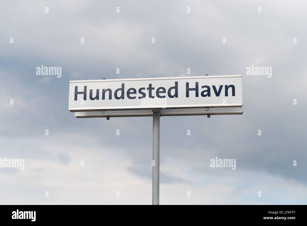 Hundested havn street name shield. Hundested is a small touristic place in the northern of Sealand - Stock Image