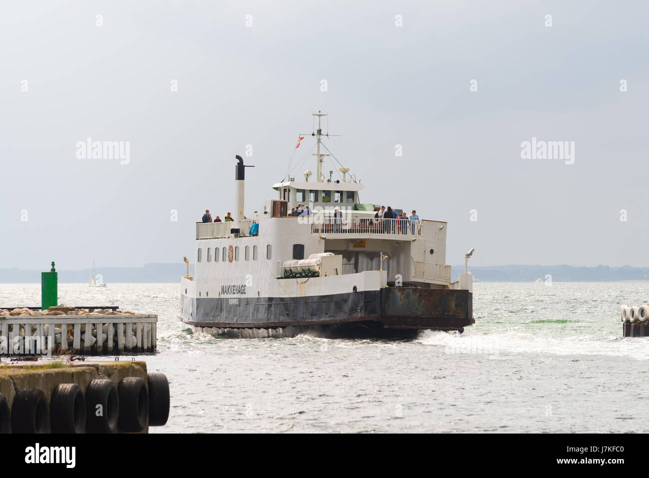 HUNDESTED, DENMARK - AUGUST 8, 2016: Departurel of the ferry in Hundested, a small town in the northern of Zealand - Stock Image