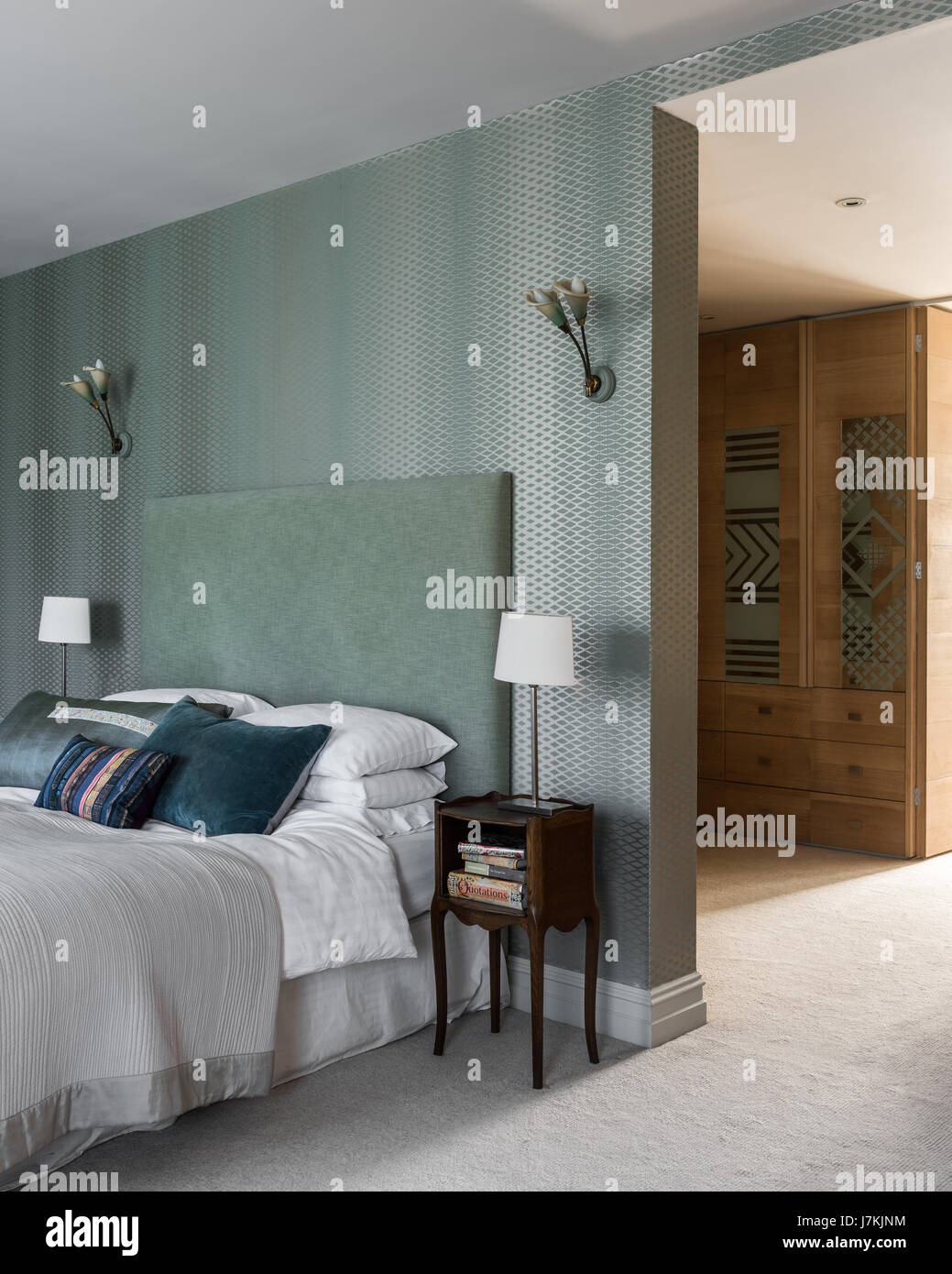 Farrow Ball Lattice Wallpaper In Bedroom With Green Headboard