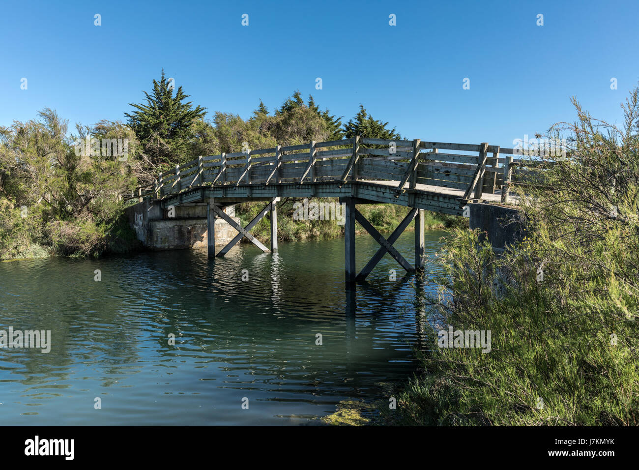 Wooden bridge in the Olonne swamp (Vendee, France) Stock Photo