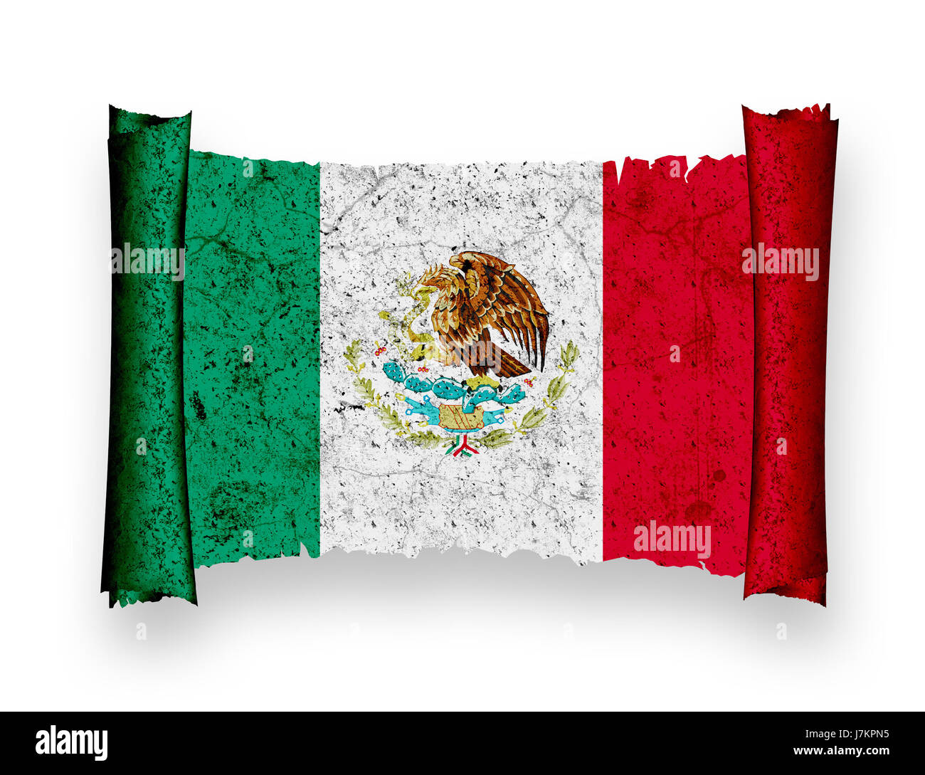 flag national mexico flag blow national mexico pictogram symbol pictograph - Stock Image
