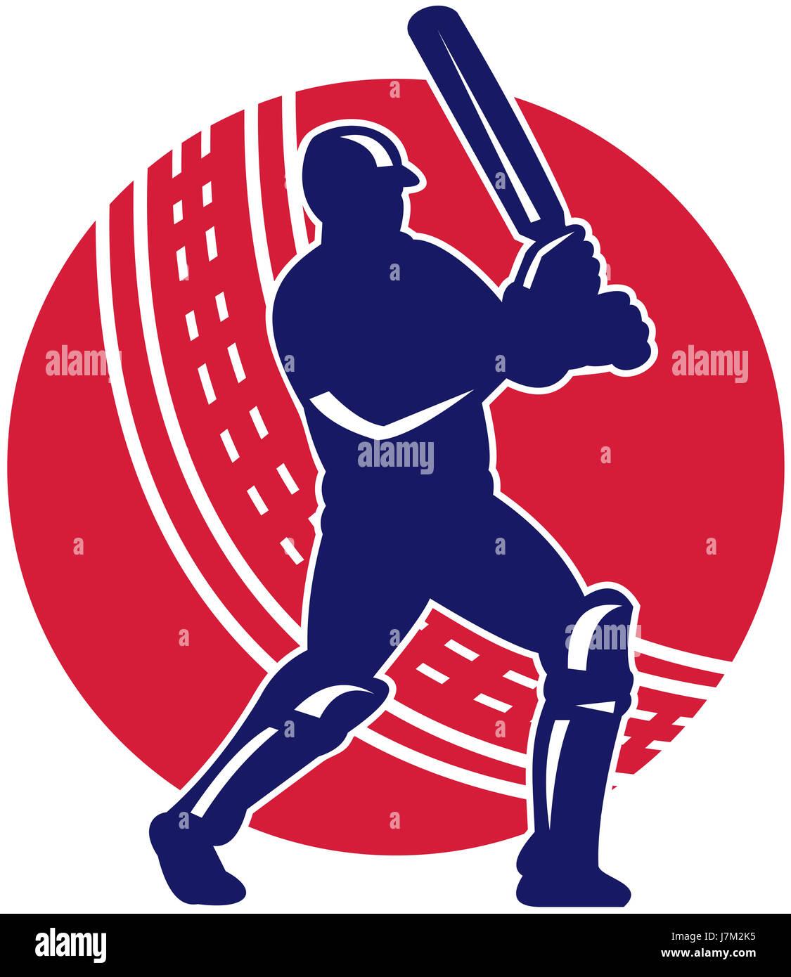 ball illustration player retro athlete batsman batting cricket sport sports - Stock Image