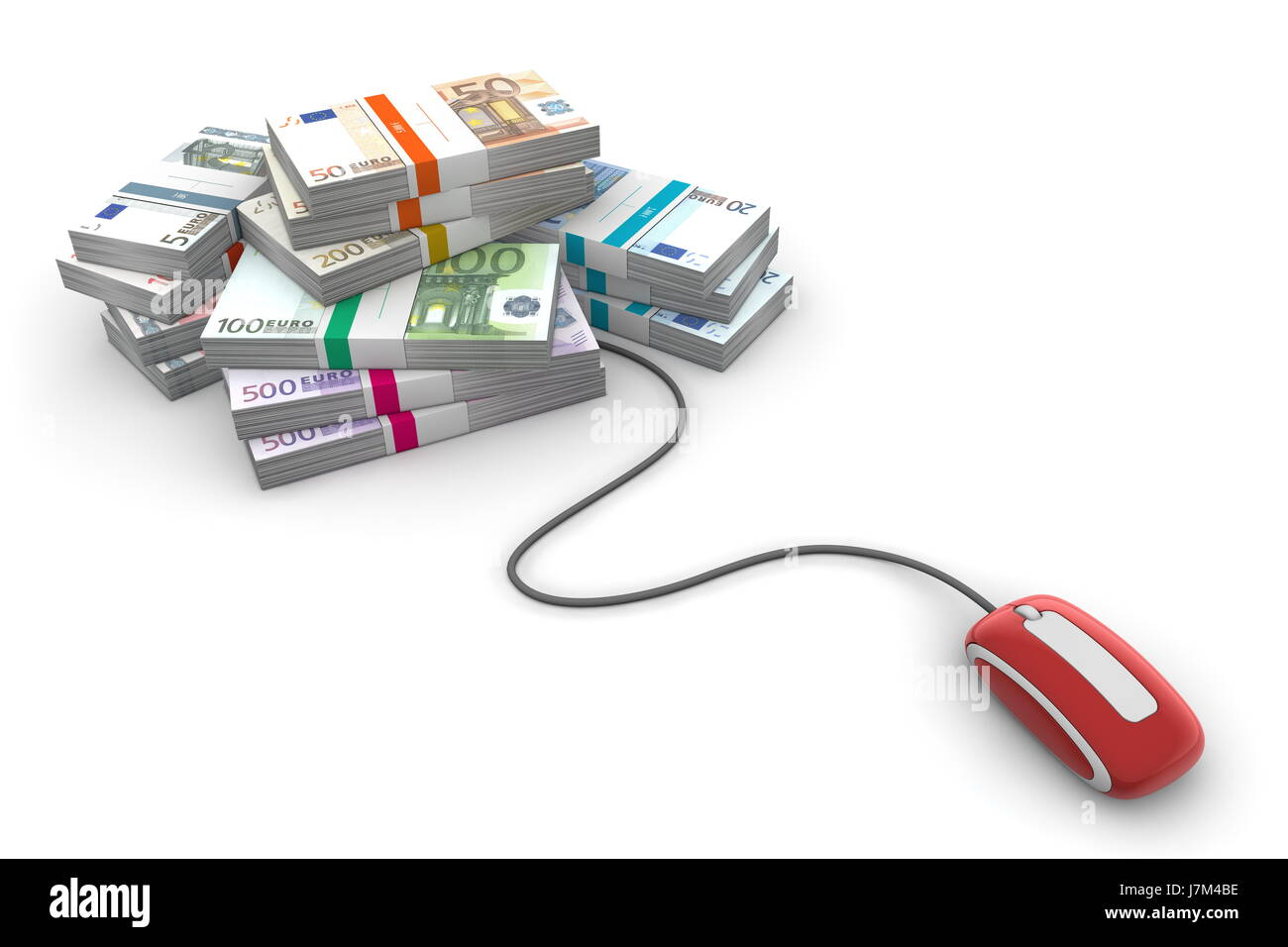 Currency Euro Stack Mouse Computer Heap Pile Red Money Online Diagram Part In This Bank