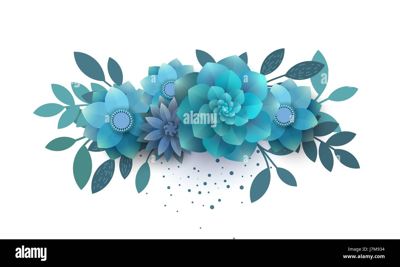 Flower composition of paper blue flowers. - Stock Image