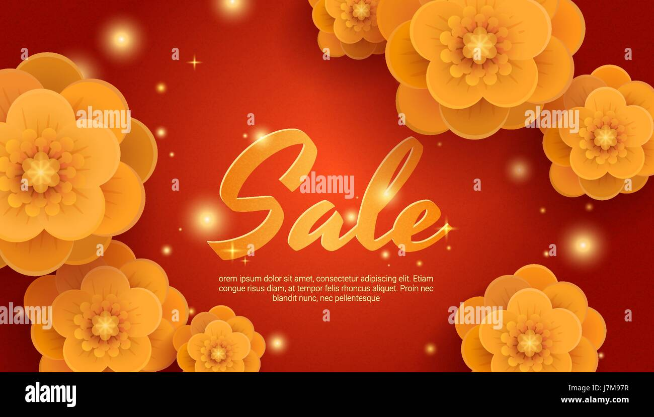 Sale Red Background With Gold Paper Flowers Stock Vector Art