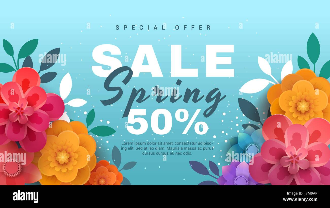 spring sale banner with paper flowers on a blue background